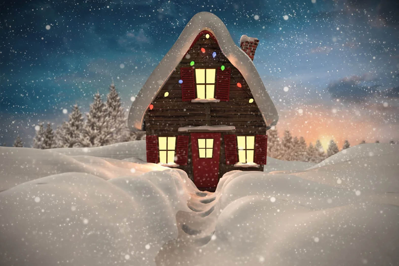 Composite-image-of-christmas-house-against-fir-tree-forest-in-snowy-landscape-1